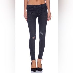 Rag & Bone Moto Tear Zipper BlackThorne Jeans 24